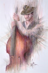 Jazz Under Pink Light by Remi LaBarre -  sized 24x36 inches. Available from Whitewall Galleries